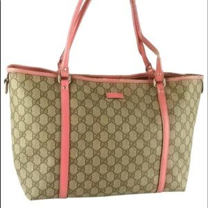 Authentic GUCCI brown tote with pink leather